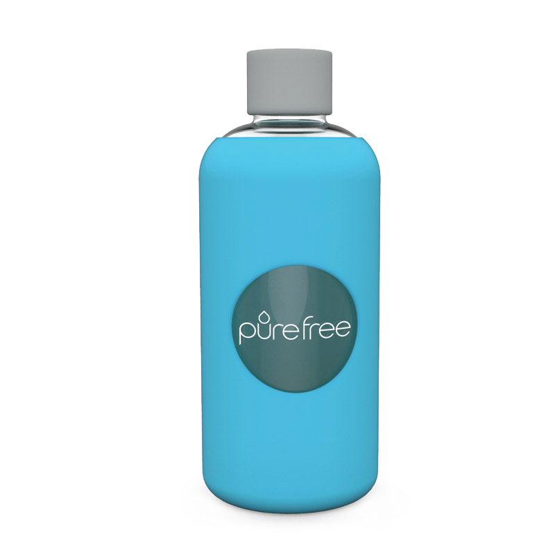Pure Free Glass Water Bottle Sky Blue