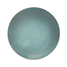 Large Copper and Enamel Bowl - Sea Green