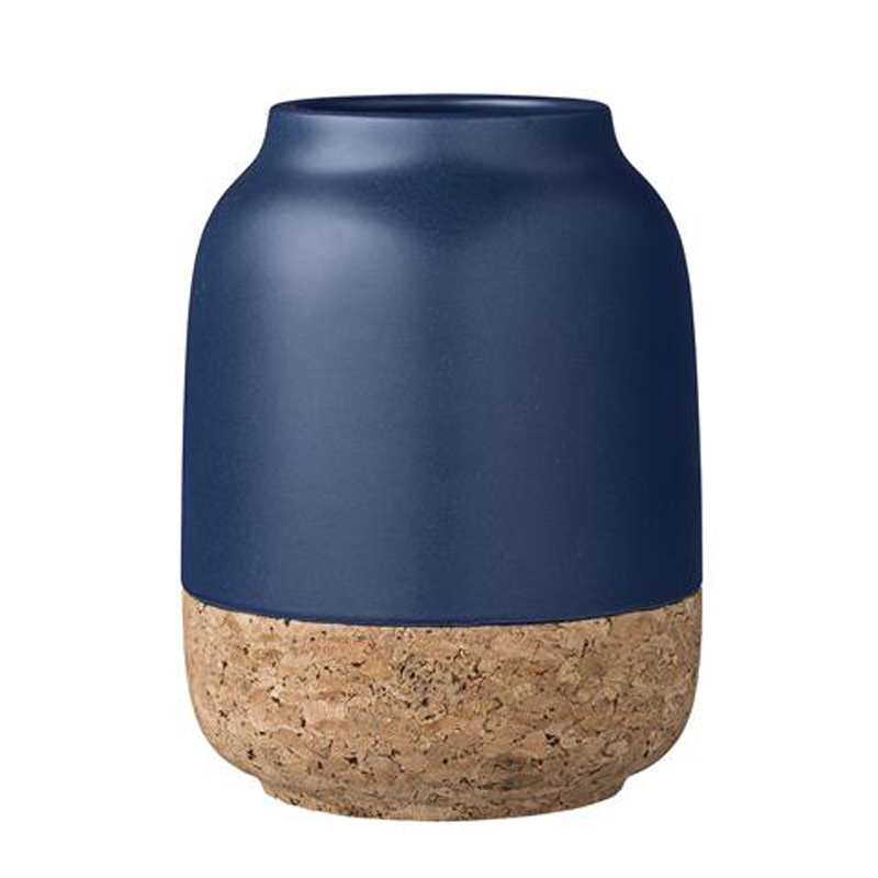 Navy-Vase-with-Cork-Bottom-Bloomingville