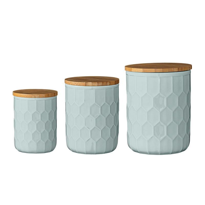 set of 3 turquoise kitchen canisters beans and jazz
