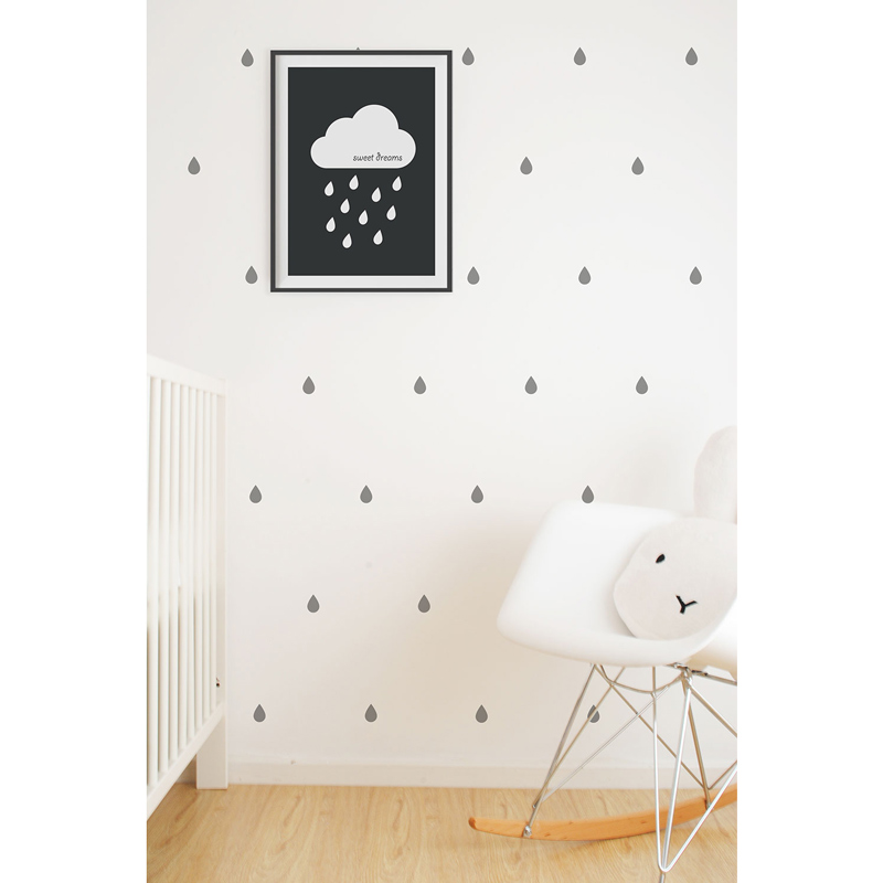 Wall-Vinyls-Grey-Raindrops