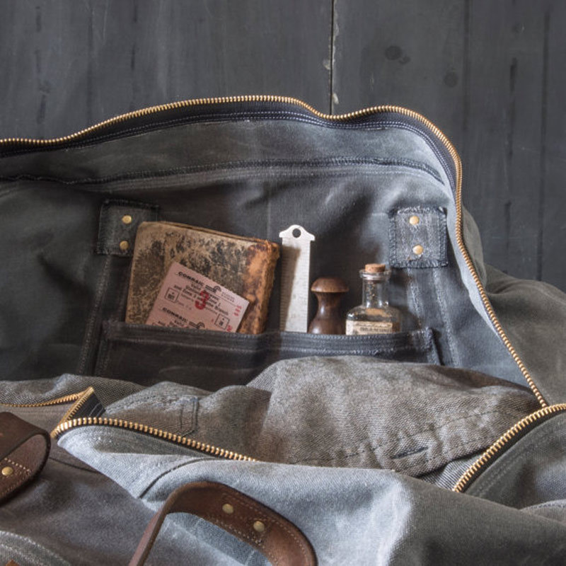 Waxed Canvas Weekender Bag Slate Beans And Jazz