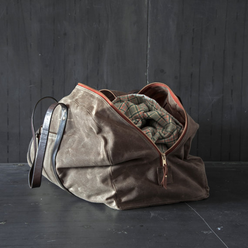 Waxed Canvas Weekender Bag Truffle Beans And Jazz