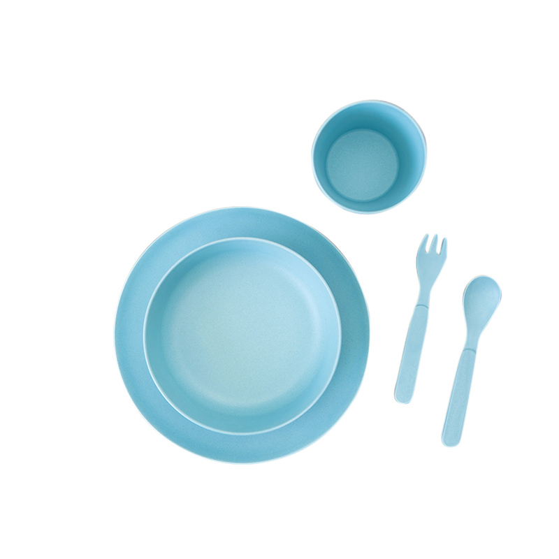 Blue Kids Bamboo Dinner Set Beans And Jazz