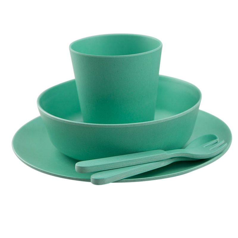 Green Kids Bamboo Dinner Set Beans And Jazz