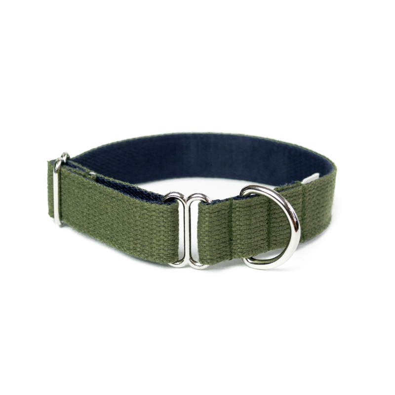 two-tone-cotton-dog-collar-green-navy