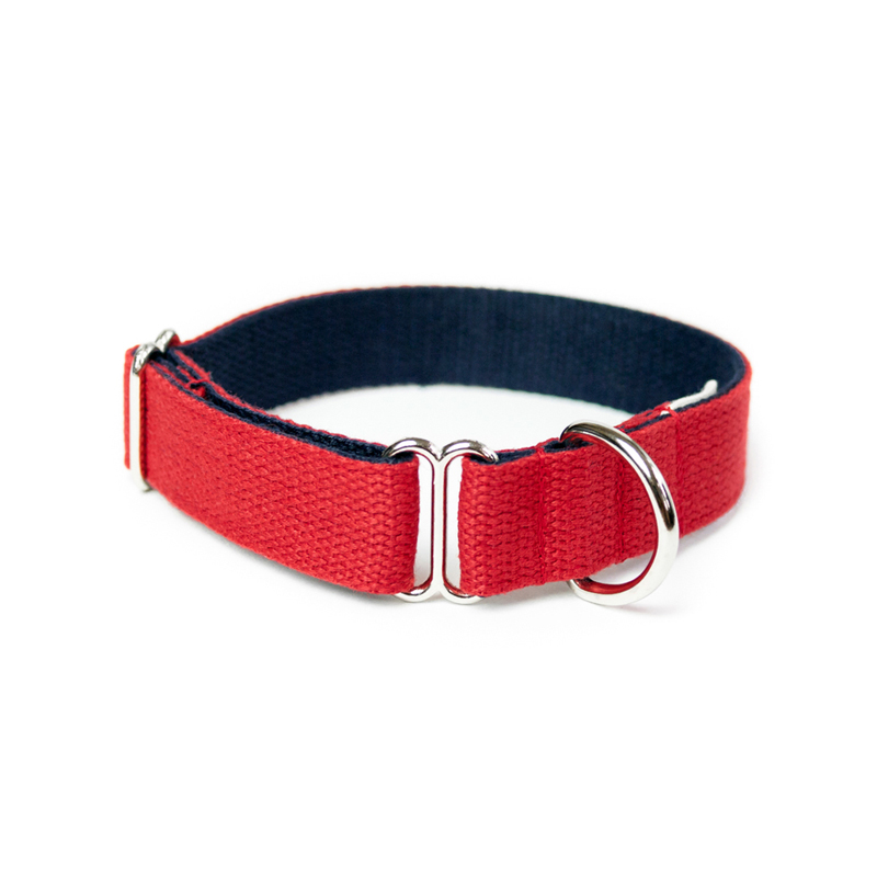 two-tone-cotton-dog-collar-red-navy