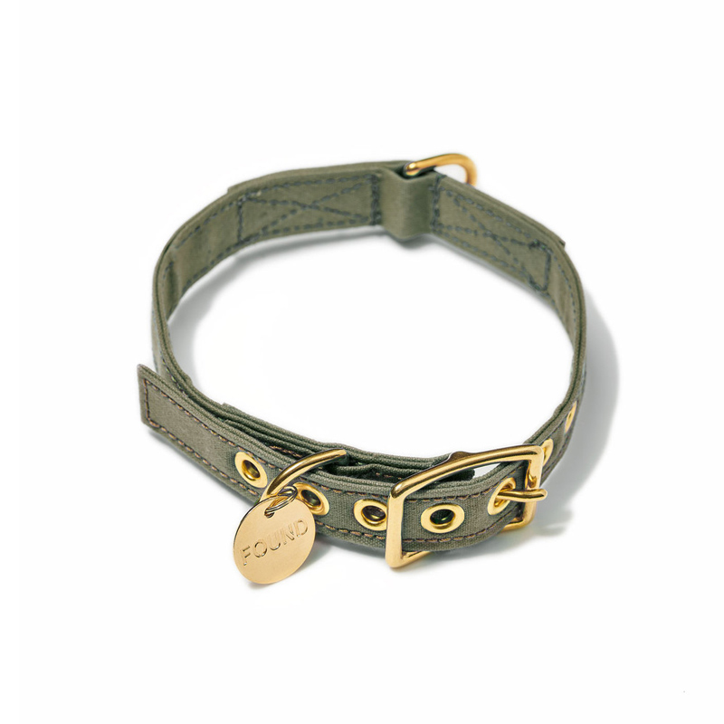 Found-My-Animal-Olive-Cotton-Canvas-Dog-Collar