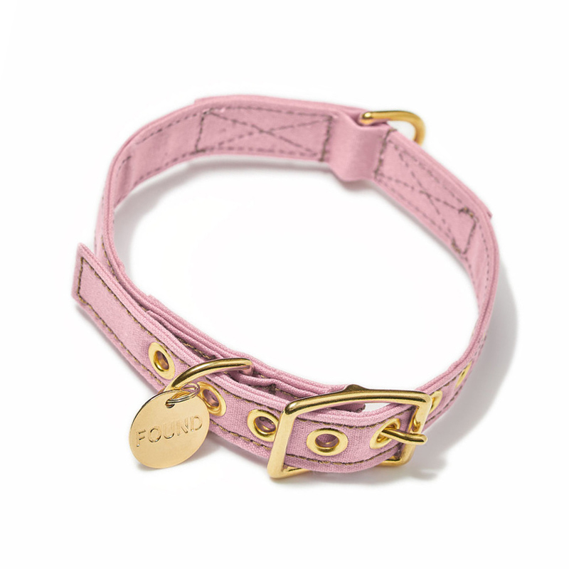 Found-My-Animal-Pink-Cotton-Canvas-Dog-Collar